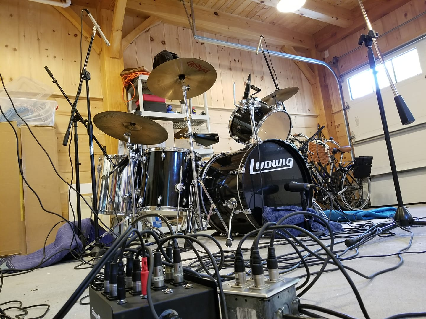 drum kit micd up in the garage